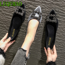 fashion flat shoes women spring autumn new pointed toe sexy vintage black casual shoes slip on Flock female shoes new arrival square heel sexy shoes women fashion flock shoes pointed toe casual slip on height shoes for woman spring shoes