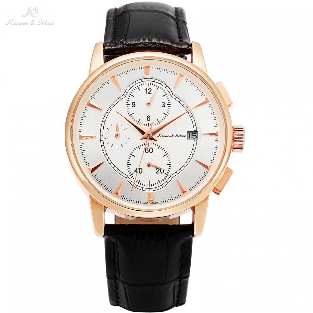 KS Automatic Rose Gold Case Black Leather Band Date Month Function Mechanical Watches Mens Luxury Watch Relogio Masculino /KS283 ks watches luxury date day display relogio masculino leather band automatic self winding men mechanical wrist watch gift ks183