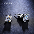 NEWBARK Single Princess-cut Earrings CZ Diamond 6mm 0.63ct White Gold Plated Stud Earrings Women Jewelry Brinco Pequeno