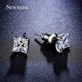 NEWBARK Solos Pendientes CZ Diamond 6mm 0.63ct corte Princesa Oro Blanco Plateado Stud Pendientes Mujer Joyería Brinco Pequeno