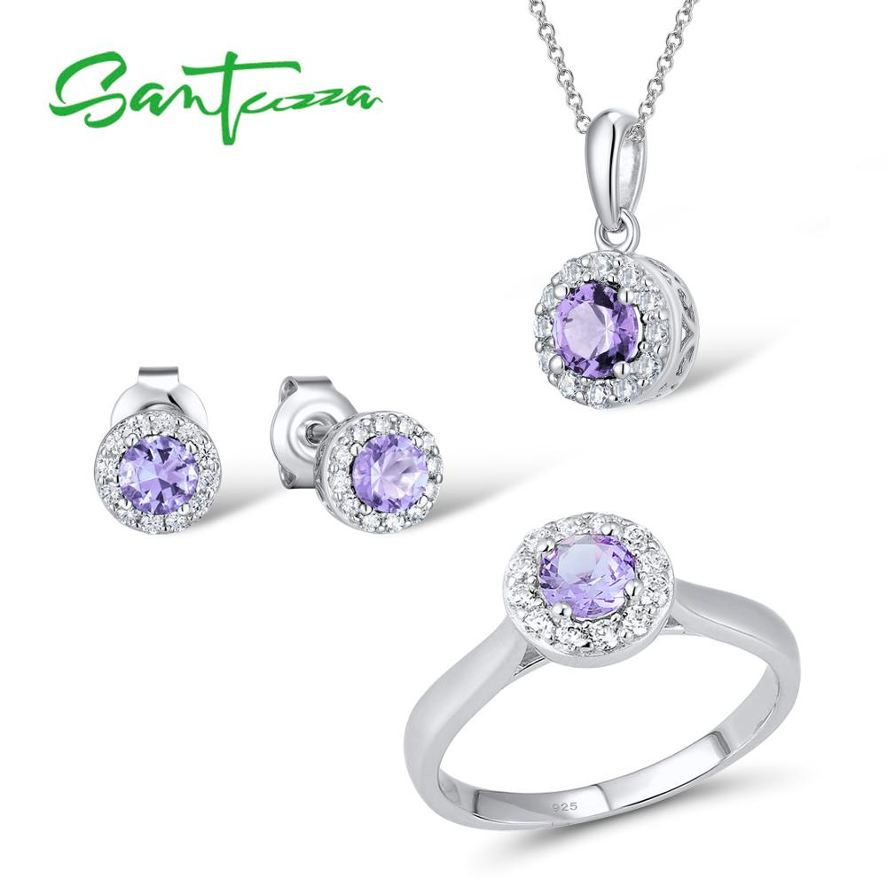 GIFT POUCH INCLUDED. SILVER CUFFLINKS SET WITH PURPLE CUBIC ZIRCONIAS