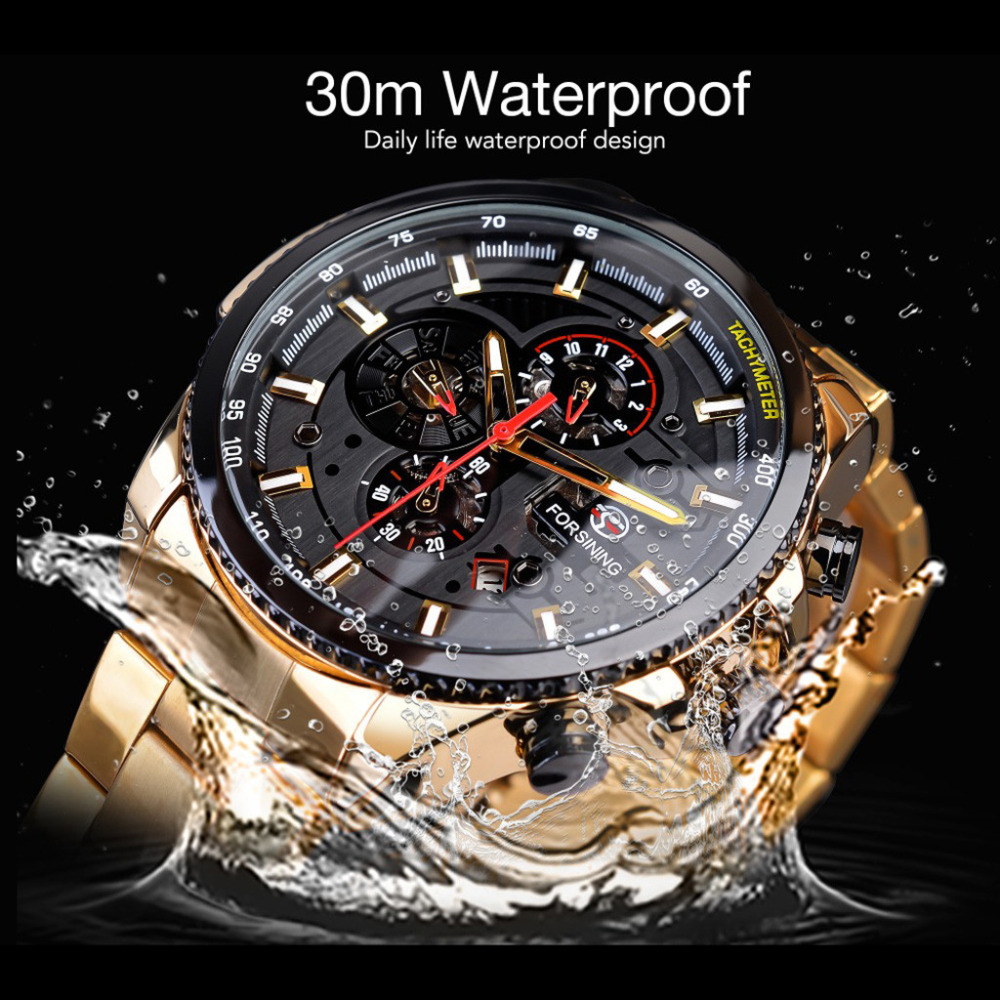 Watch Men Three Eyes Automatic Mechanical Watch Gold High Quality Vintage Man Watch Mens Mechanical Watch Top Luxury Brand