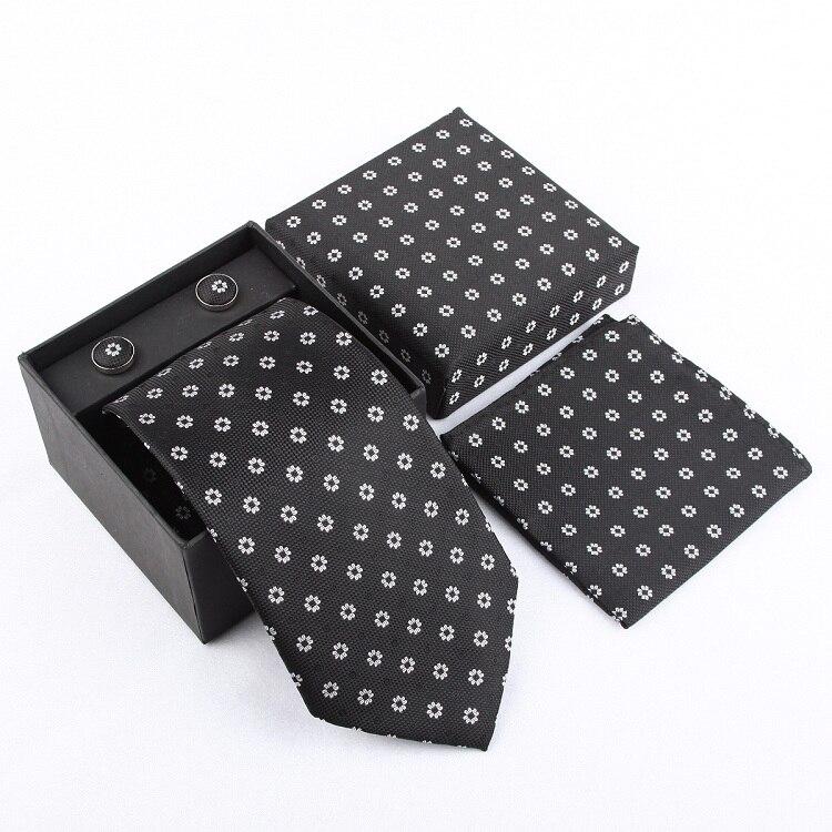 Мужская мода высокого качества набор галстуков галстуки запонки шелковые галстуки Запонки Карманный платок - Цвет: 23