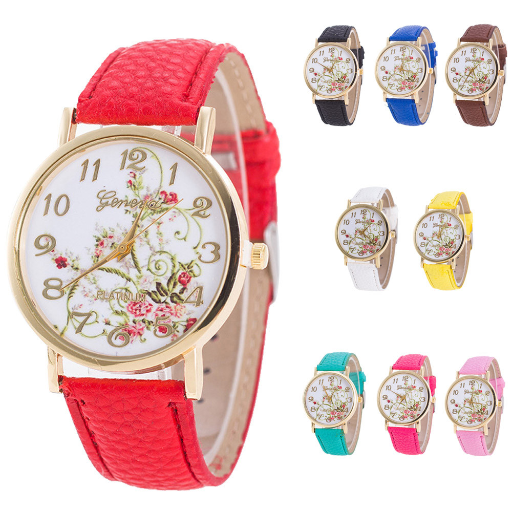 Geneva Fashion Women Flowers Watches Sport Analog Quartz Wrist Watch Female Clock relogio feminino Drop Shipping women fashion leather band analog quartz round wrist watch watches relogio feminino clock
