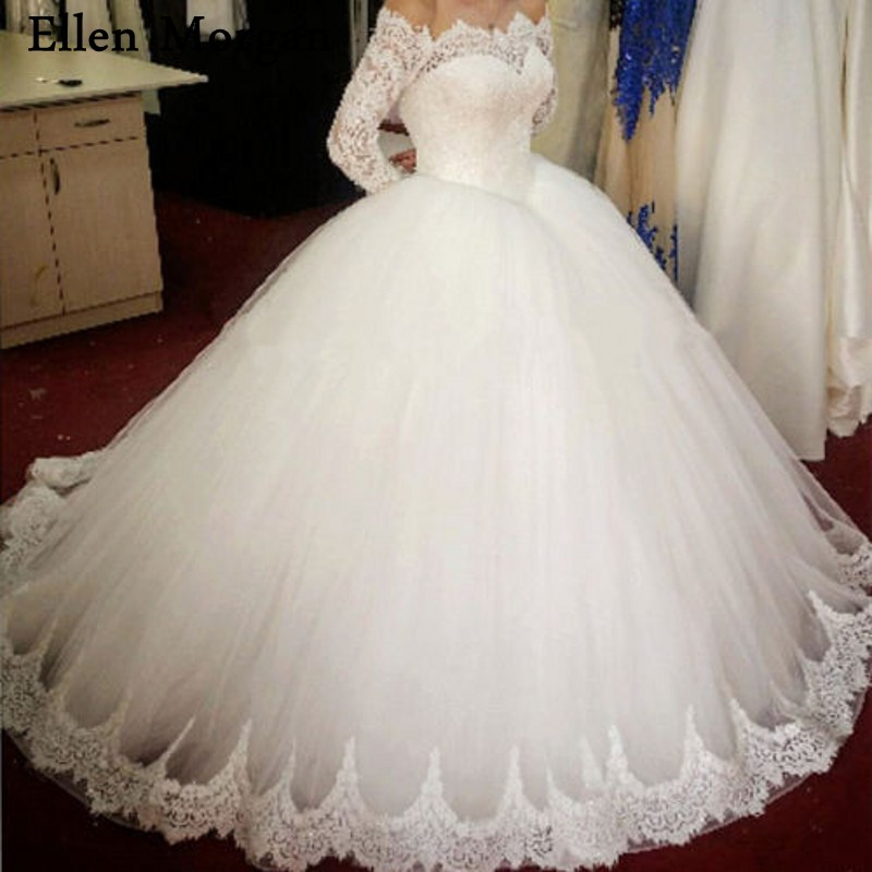 Elegant Long Sleeves Lace Ball Gowns Wedding Dresses for Women Off Shoulder Puffy Court Train Zipper Tulle Bridal Gowns 2018