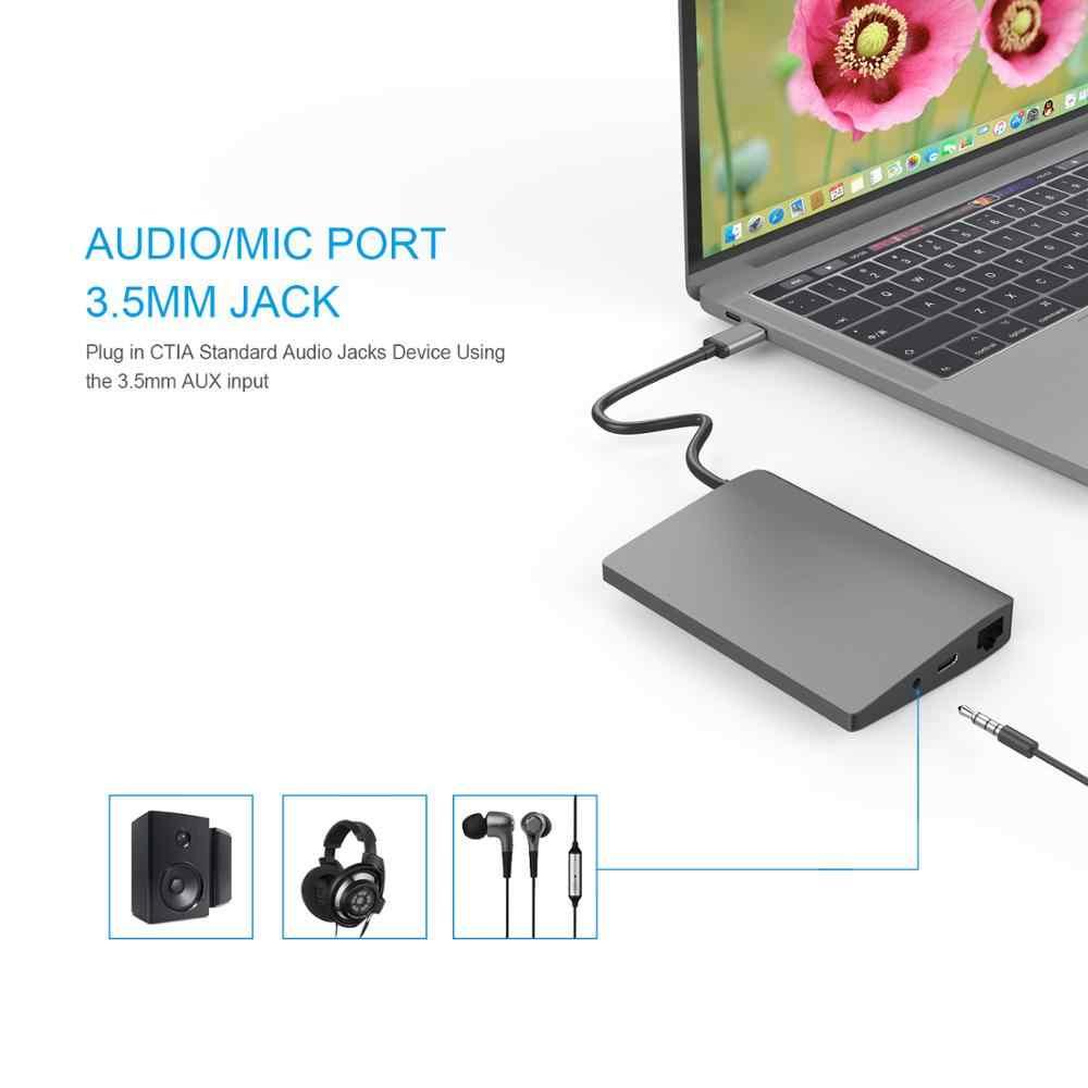 Amkle 9 in 1 USB3.1 Hub Multifunction USB-C Hub with Type-C 4K Video HDMI Gigabit Ethernet Adapter USB 3.0 USB C Type C HUB