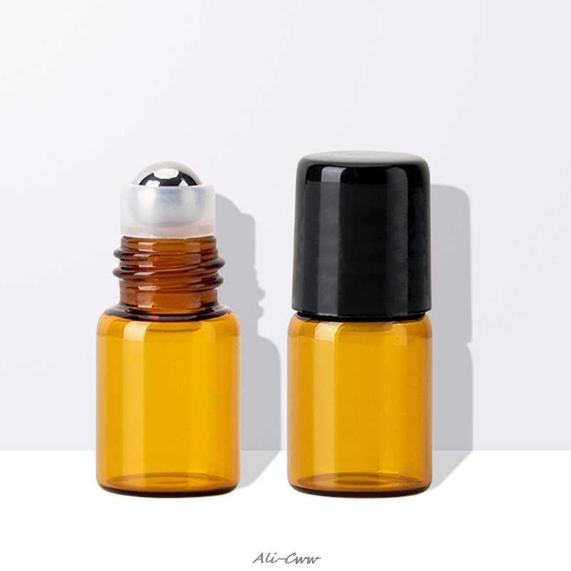 Mini botella de bola rodante de vidrio vacío aceite esencial Perfume recipiente de líquidos herramienta de viaje recargable
