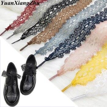 1Pair Colorful Openwork Lace Laces Off White Shoes Lace Sneaker Casuals Leather Shoelaces 3CM Width 80/100/120CM Length Shoelace 1pair lot 100
