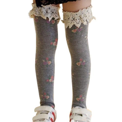 5025a600dd7 Baby Girls Teens Little Lace Flower High Knee High In Tube Stockings light  grey
