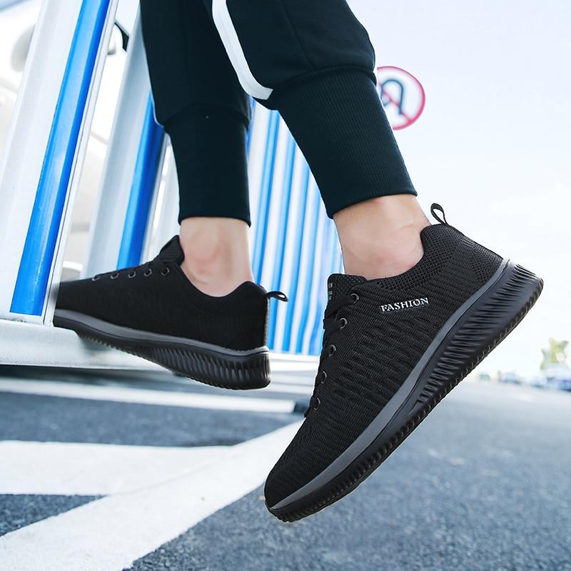 HTB18NIiajzuK1RjSspeq6ziHVXaQ New Mesh Men Casual Shoes Lac-up Men Shoes Lightweight Comfortable Breathable Walking Sneakers Tenis Feminino Zapatos