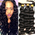 Brazilian Virgin Hair Loose Deep Wave 3 Bundles Curly Weave Human Hair 10A Brazilian Loose Curly Virgin Hair Newest Beach Wave