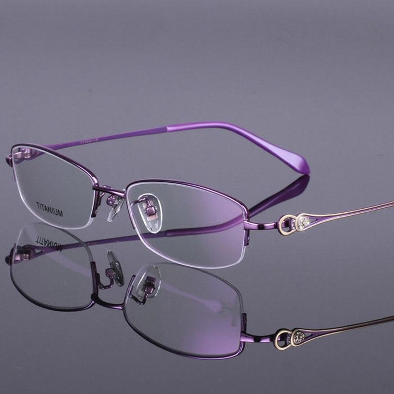 new eyeglass frames 5sae  Brand Women Pure Titanium Eyeglasses Frames High Quality Myopia Glasses  Frame For Female Size 53