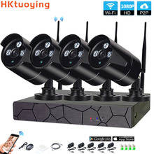 4CH 1080P HD Wireless NVR Kit P2P Indoor Outdoor IR Night Vision Security 2.0MP IP Camera WIFI CCTV System