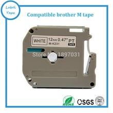 Frete grátis 20 pcs fita de etiquetas compatíveis para brother m-k231 mk231 m-231 mk231 preto no branco