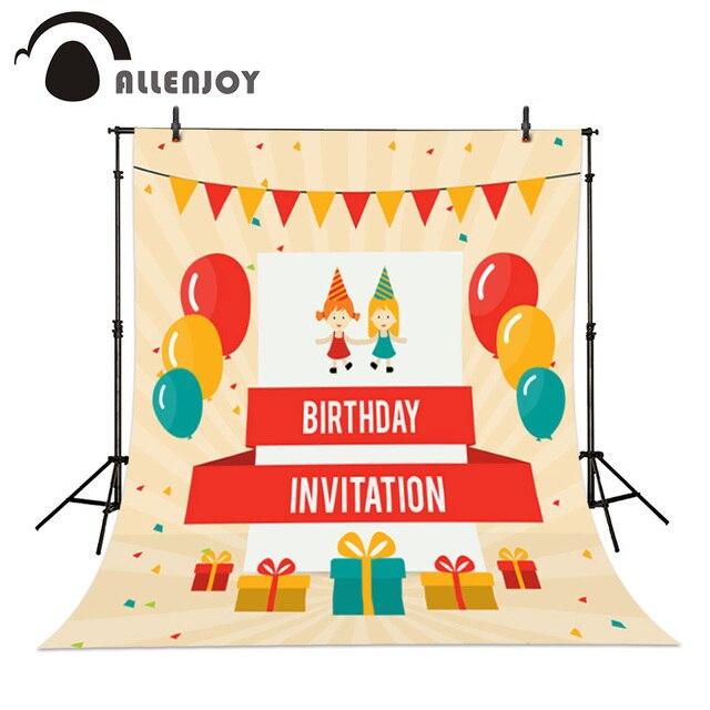Allenjoy Ulang Tahun Anak Undangan Balon Hadiah Bendera Vinyl