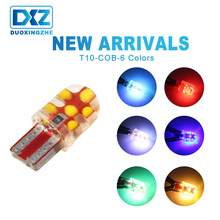 DXZ 1X T10 COB Silica Gel 194 168 501 w5w LED Bulb canbus 12SMD car interior light Auto Wedge parking Dome Turn side Lamp DC 12V