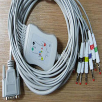 Compatible For Nihon Kohden ECG-1250 ECG-1350 ECG EKG Cable with leadwires 10 leads Medical ECG Cable 4.0 Banana End TPU