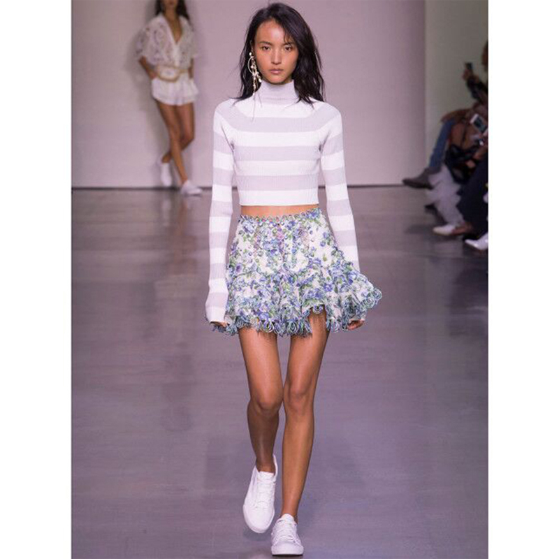 High Quality Summer Runway Designer Boutique Woman Skirt Floral Print High Waist Lace Mini Skirt Holiday Beach Party Sweet Skirt