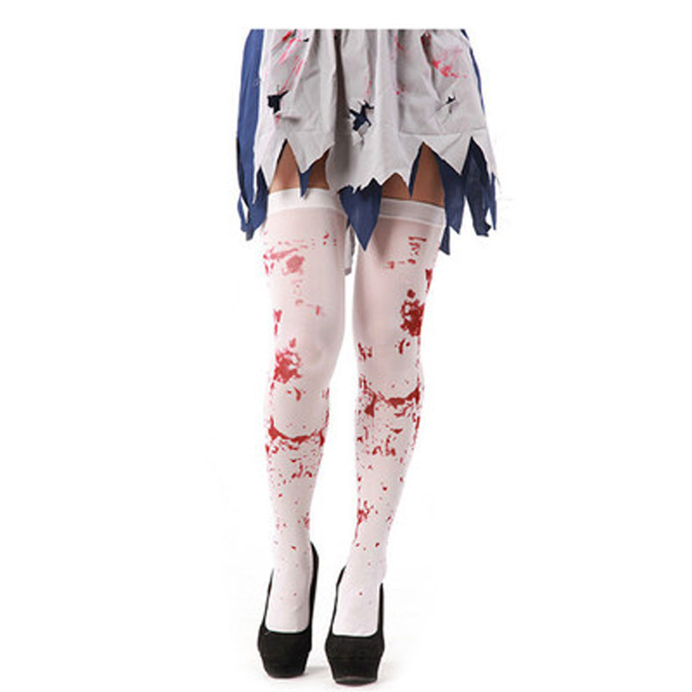 Women Blood Stained White Knee High Stockings For Halloween Cosplay Costume Party Halloween Horror Nights Dropshipping