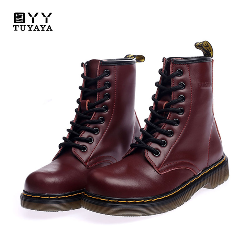 2018 Fashion Autumn Winter Women Genuine Leather Martin Boots Casual Ankle Boots New Woman Snow Boots Plus Size 35-44 women boots plus size 35 43 genuine leather autumn winter ankle boots black wine red shoes woman brand fashion motorcycle boot