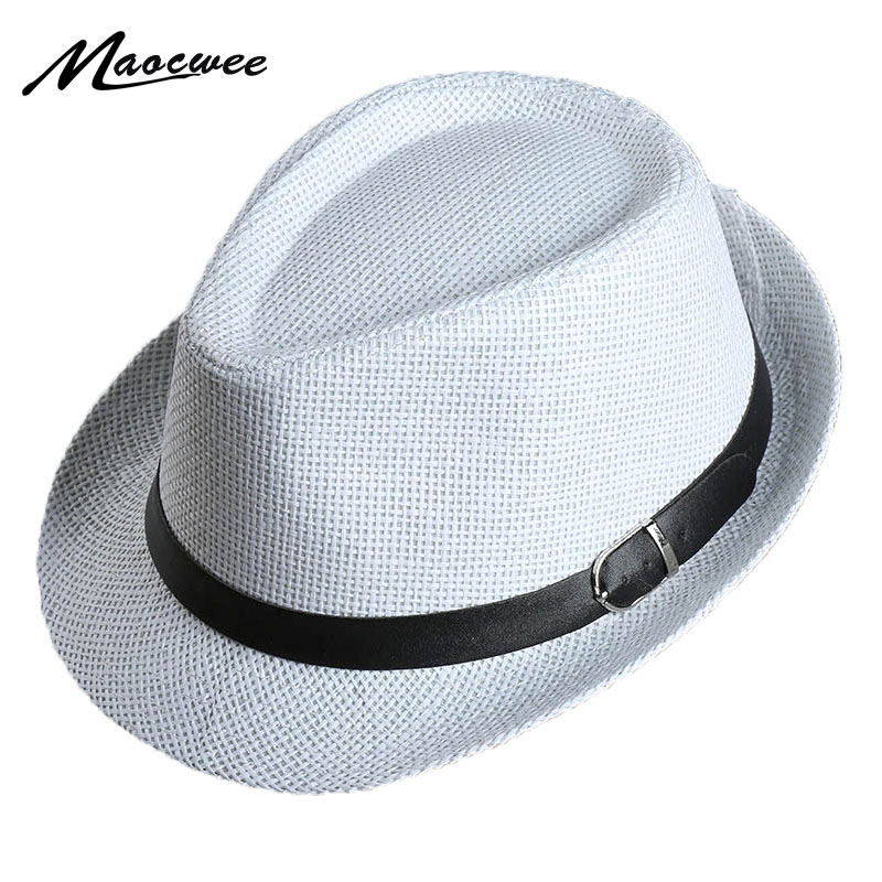 1d33ce7ec97 Men s Straw Jazz cap Casual Panama Sun Hats for Men Summer Fashion Beach Hat  for Male Fedora Visor Caps for Belt decorated hat