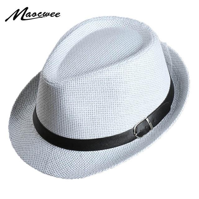 Palha Panamá Jazz cap Casual Chapéus de Sol dos homens para Homens Verão  moda Fedora Chapéu 4db574c4464