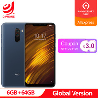 Turkey 3~7 Work Days Global Version Xiaomi PocoPhone F1 Poco Phone 6GB 64GB Snapdragon 845 6.18'' Dual Rear Camera 20MP Phone