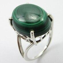 Твердое серебряное малахитовое палец кольцо Размер 6,75 7,7 г драгоценный камень уникальный дизайн