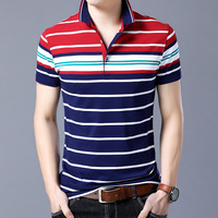 2018 Summer Boys New Brand Striped Series Men S T Shirt Business Casual Tshirt Turn Down