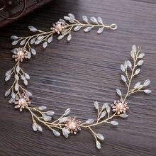 Ręcznie robiony kryształowy kwiat korowód pałąk Prom perła ślubna głowa kawałek kobiety opaska do włosów dla panny młodej Quinceanera dekoracje