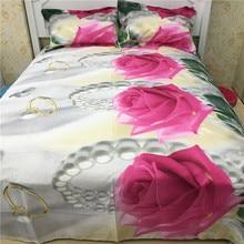 Gorgeous 3d rose grande imprimir queen size bedding set de edredón de cama de algodón 400TC fundas de almohadas hoja 4 unids kit