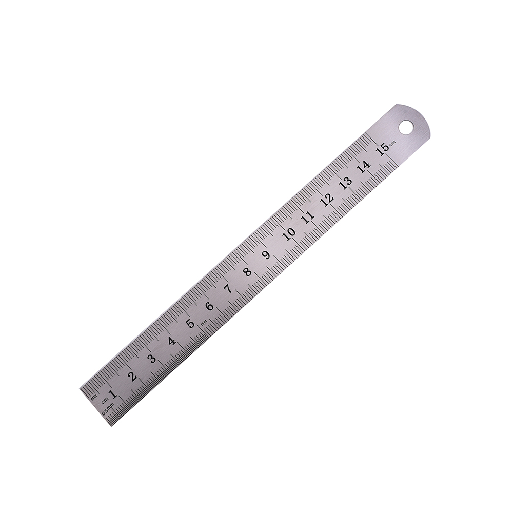 Peerless 1PC 15cm Stainless Steel Metric Rule Precision Double Sided Metal Ruler Measuring Tool Student Stationery