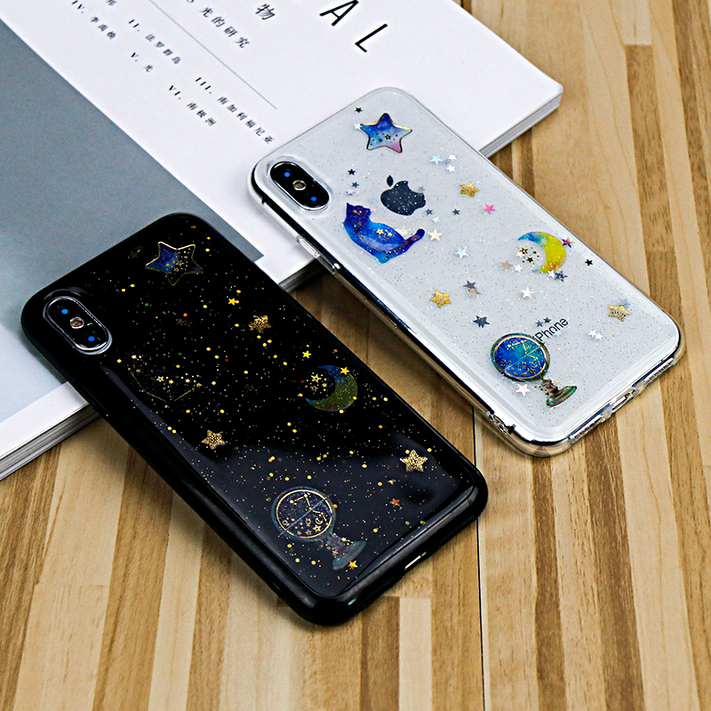 For iPhone 6 Case Glitter Powder Bright Sky Stars Moon Soft Thin Case For iPhone 7 Case Phone Back Cover Shell For iPhone X Case