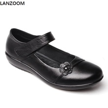 LANZOOM new arrival women Mary janes shoes summer low heel pumps soft rubber soles wedge shoes Women's genuine leather shoes