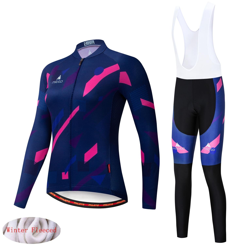 MILOTO 2019 Women NEW Winter New thermal fleece Cycling Jersey Bike Bib Pants set Ropa Ciclismo