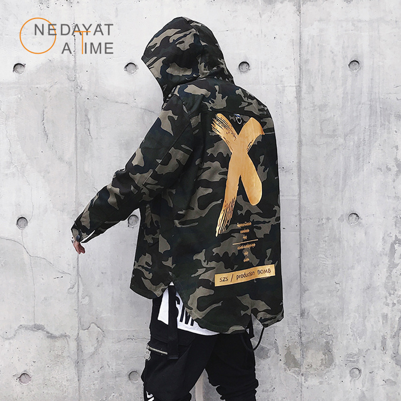 Newest Mens Jacket High Street Spring Men Camouflage X Print Jackets Fashion Cotton Windbreaker Coat Male Hood Hip Hop Streetwea