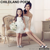 Mom And Daughter Gown Clothes 2016 Mother Daughter Dresses Party Wedding Princess Girls Bow Gown Dress