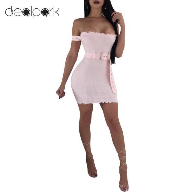 af62b990d6a 2019 Summer Dress Sexy Off Shoulder Dress Women Bodycon Dress Mini Tube Dress  Ribbed Slim Ladies