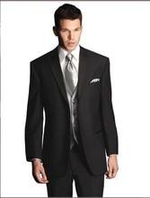 Brand New Groom Tuxedo Black Groomsmen Notch Satin Lapel Wedding/Dinner Suits Best Man Bridegroom (Jacket+Pants+Tie+Vest) B186