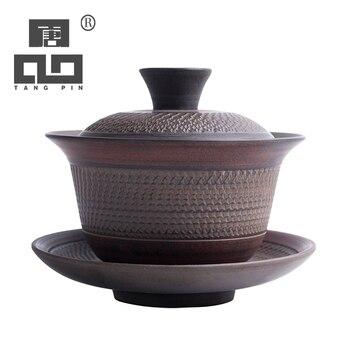 TANGPIN vintage ceramic gaiwan tea cup for puer chinese kung fu tea set drinkware 125ml tangpin purple clay tea pets monkey cute zisha teapets kung fu tea accessories