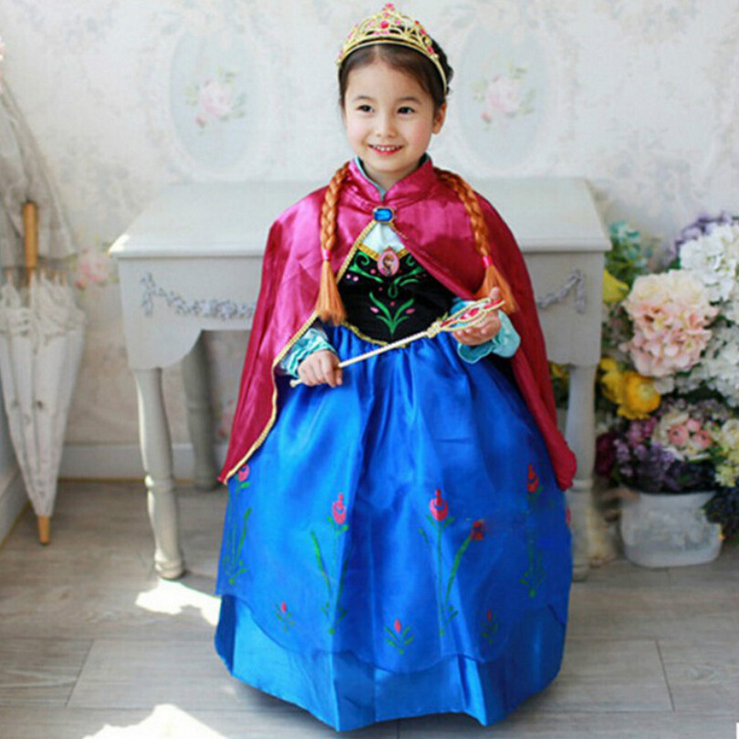 New 2016 Toddler Baby Girls Clothes Princess Party Cosplay Costume Fever anna Elsa Dress For Girls Kids Dresses For Girl new cinderella princess girl dress kids christmas dresses costume for girls party crown necklace fantasia dress kids clothes