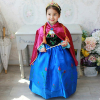 New 2016 Toddler Baby Girls Clothes Princess Party Cosplay Costume Fever Anna Elsa Dress For Girls
