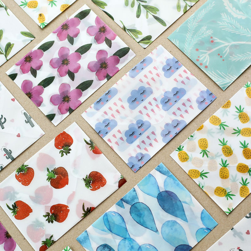 3 Pcs/lot Cute Kawaii Flower Sulfuric Acid Paper Envelope For Postcard Kids Gift School Supplies Student Office Stationery
