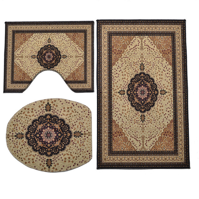 3Pcs European Retro Bath and Toilet Mat Sets Water-Absorbing Non-Slip High Quality Crystal Velvet Bathroom Rug