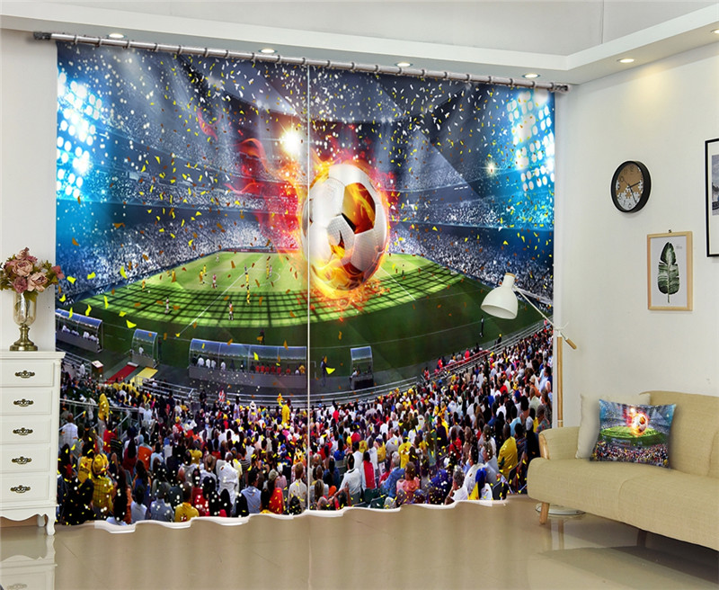 Modern Fashion World Cup 3D Blackout Window Curtain For Bed room Living room Hotel Window Drapes Cortinas Para SalaModern Fashion World Cup 3D Blackout Window Curtain For Bed room Living room Hotel Window Drapes Cortinas Para Sala