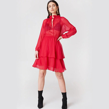 2019 summer new womens chiffon dress high collar strap long sleeve red black