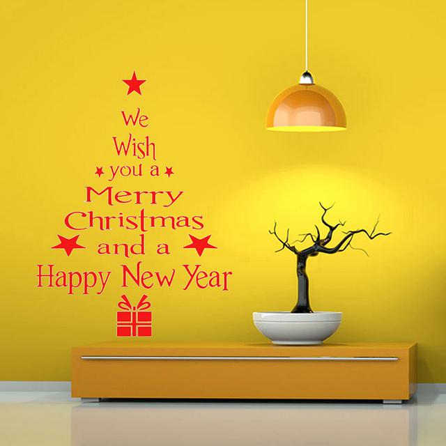 WHISM Christmas Tree Wall Stickers Removable DIY PVC Art Decals ...