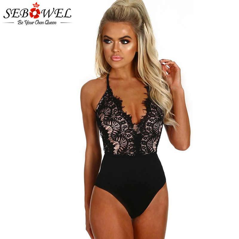 SEBOWEL женские сексуальные черные кружевные боди с высокой талией Обтягивающие Комбинезоны без рукавов клубный костюм для тела леди ресницы кружева macacao feminino