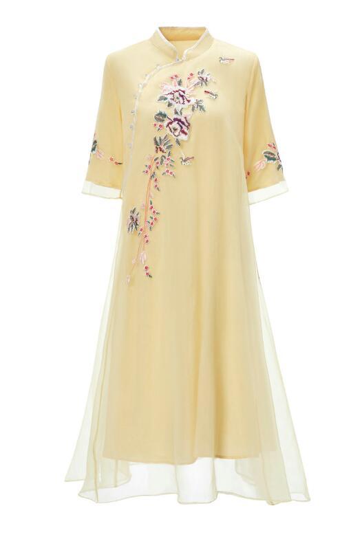 Zomer De Nieuwe Chinese Ruyi garen borduurwerk cheongsam jurk geel Zeven kwart mouw elegante mode Losse jurk S 2XL - 3