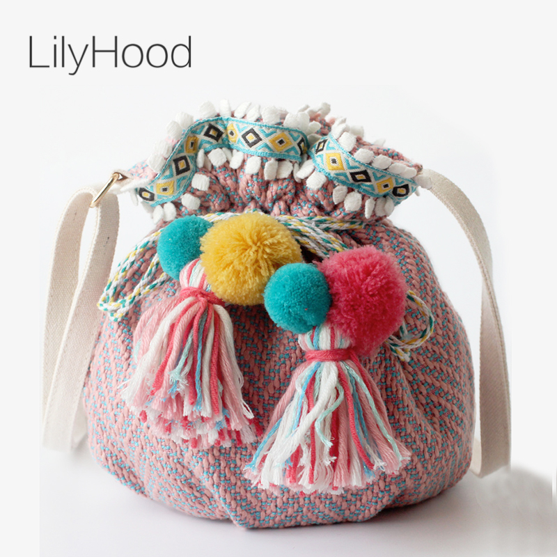 LilyHood Women Boho Chic Fabric Shoulder Bag Ibiza Bohemian Tribal Gypsy S Fringe Pom Pom Cute Small Bucket Crossbody Bag